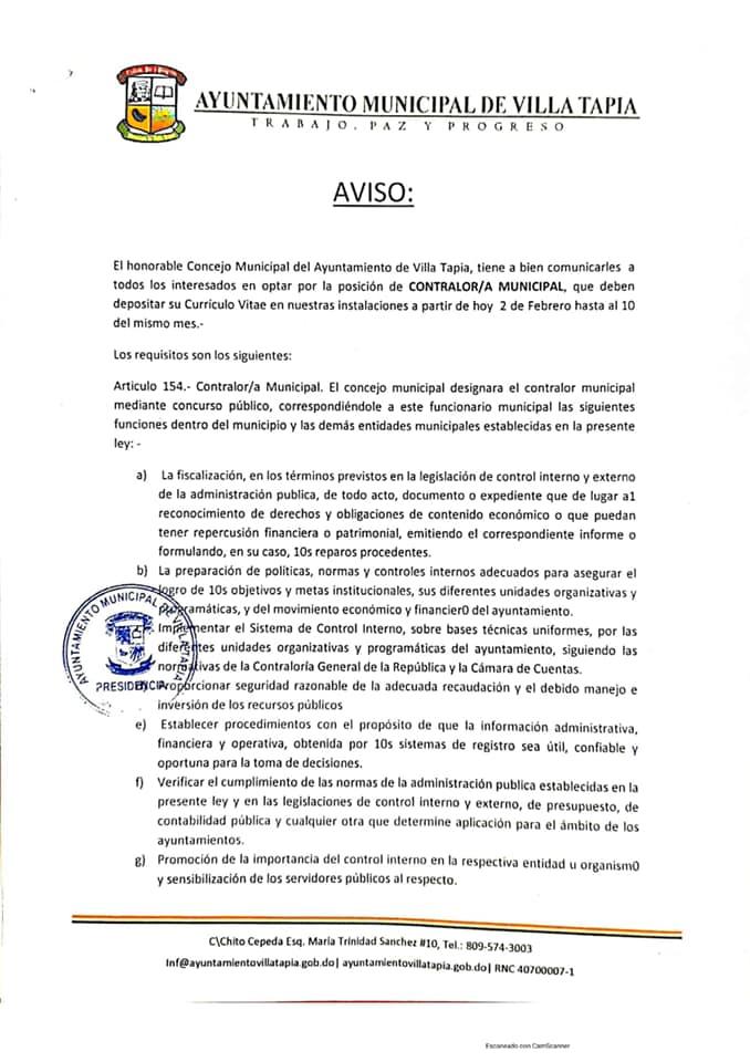 ¡AVISO DESDE EL HONORABLE CONCEJO DE REGIDORES!